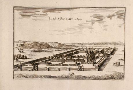 Antike Landkarten, Merian, Frankreich, Richelieu, 1657: La Ville de Richelieu en Poictou.