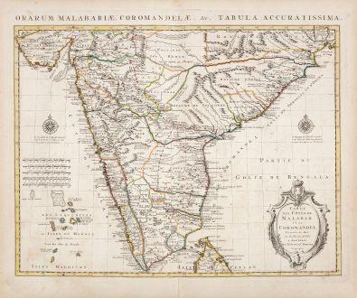 Antique Maps, de l Isle, India, 1730: Carte des Cotes de Malabar et de Coromandel / Orarum Malabariae, Coromandelae...
