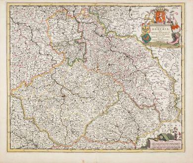 Antike Landkarten, de Wit, Tschechien - Böhmen, 1680: Regnum Bohemia eique Annexae Provinciae, ut Ducatus Silesia...