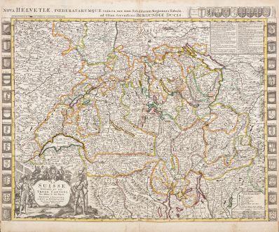 Antike Landkarten, Jaillot, Schweiz, 1730: La Suisse Divisée en ses Trenze Cantons - Nova Helvetiae, Foederatarumque...