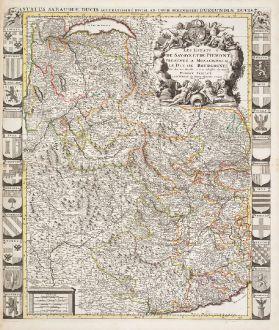 Antike Landkarten, Jaillot, Frankreich, Piemont, Savoyen, 1730: Les Estats de Savoye et de Piemont / Status Sabaudiae Ducis