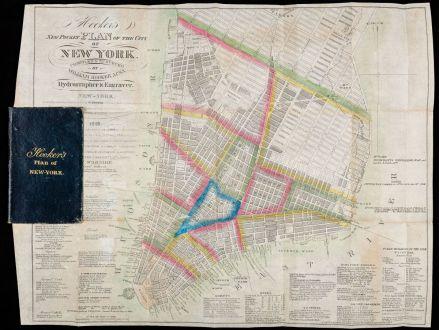 Antike Landkarten, Hooker, Nordamerika, Lower Manhattan, New York City, 1828-29: Hooker's New Pocket Plan Of The City Of New York. Compiled & Surveyed By William Hooker, ACSA Hydrographer & Engraver.