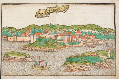 Antike Landkarten, von Breydenbach, Balkan, Porec, Parenzo, Istrien, Kroatien: Parens - Von der statt Parentz und andere anstossende stett.