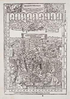 Antike Landkarten, Celtis, Europa Kontinent, 1502: Barbara Codonea - Germaniae Latus Septentrionale