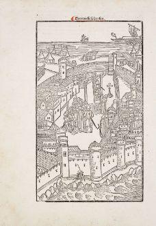 Antike Landkarten, Caoursin, Griechenland, Rhodos, 1496: Georius fit suspensus