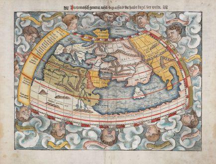 Antike Landkarten, Münster, Ptolemäische Weltkarte, 1540 (1550): Ptolemaisch General Tafel, begreiffend die halbe Kugel der Weldt