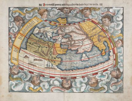 Antique Maps, Münster, Ptolemaic World Map, 1540 (1550): Ptolemaisch General Tafel, begreiffend die halbe Kugel der Weldt