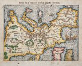 Coloured woodcut map of the European continent. Printed in Basle by Heinrich Petri in 1550.