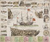 Kupferstich mit Marine- & Seefahrtmotiven. Kriegsschiff. Gedruckt bei J. B. Homann um 1720 in Nürnberg.