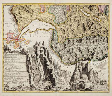 Antike Landkarten, Scheuchzer, Schweiz, Genfersee, 1720: [Nova Helvetiae tabula geographica]