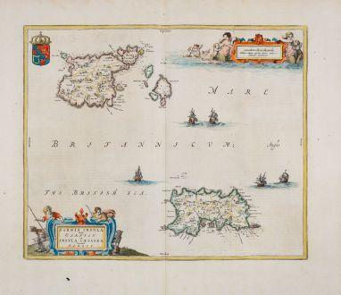 Antike Landkarten, Blaeu, Britische Inseln, Kanalinseln, Guernsey, Jersey: Sarnia Insula, vulgo Garnsey: et Insula Caesarae, vernacule Jarsey