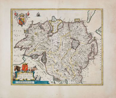 Antique Maps, Blaeu, Ireland, Ulster, Northern Ireland, 1654: Ultonia, Hibernis Cui-Guilly, Anglis Ulster