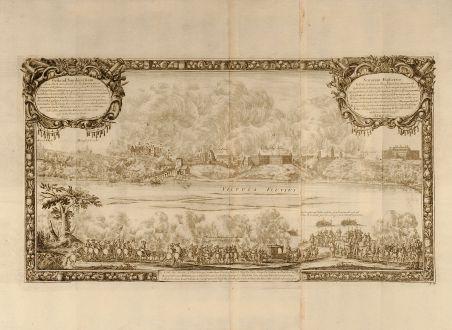 Antique Maps, von Pufendorf, Poland, Sandomierz, Vistula, Wisla, 1697: Gesta ad Sandomiriam d. 24. Marti 1656. quando Ser. Rex Sueciæ structo ponte navali Vistulam traiecit ...