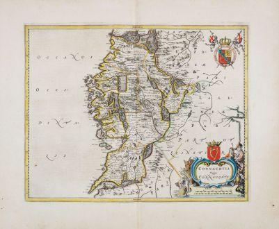 Antique Maps, Blaeu, Ireland, Northwestern Ireland, Connacht, 1654: Connachtia vulgo Connaughty