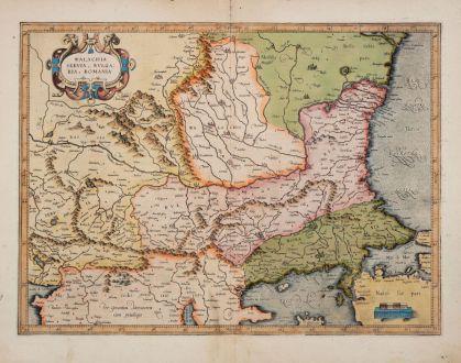 Antique Maps, Mercator, Balkan, Eastern Balkans, Serbia, Bulgaria, Romania: Walachia, Servia, Bulgaria, Romania