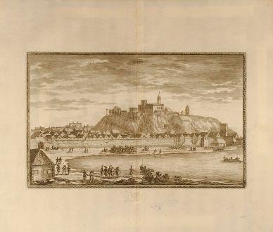 Antike Landkarten, von Pufendorf, Polen, Belagerung von Ilza, 1697: Yltze