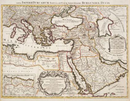 Antique Maps, Jaillot, Turkey, Turkish Empire, Ottoman Empire, 1696: Estats de l'Empire du Grand Seigneur des Turcs en Europe, es Asie, et en Afrique / Nova Imperii Turcarum...