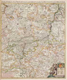 Antique Maps, de Wit, Belgium, 1680: Episcopatus et Principatus Leodiensis et Namurcensis Comitatus, cum Brabantiae, Luxemburgi