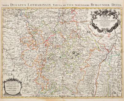 Antique Maps, Jaillot, France, Lorraine, 1730: La Lorraine, qui comprend les Duchés de Lorraine et de Bar, et Les Balliages des Eveschés et des Villes de Metz, Toul, et...