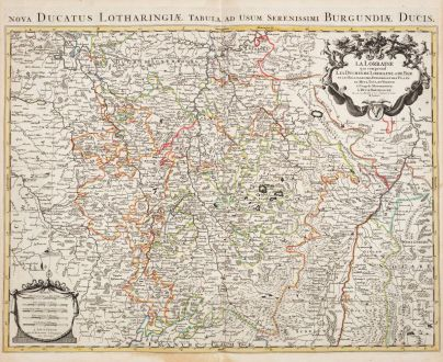 Antike Landkarten, Jaillot, Frankreich, Lothringen, 1730: La Lorraine, qui comprend les Duchés de Lorraine et de Bar, et Les Balliages des Eveschés et des Villes de Metz, Toul, et...