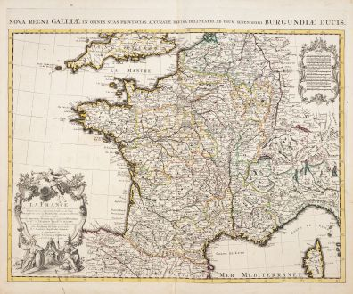 Antike Landkarten, de l Isle, Frankreich, 1721: La France / Nova regni Galliae in omnes suas Provincias...