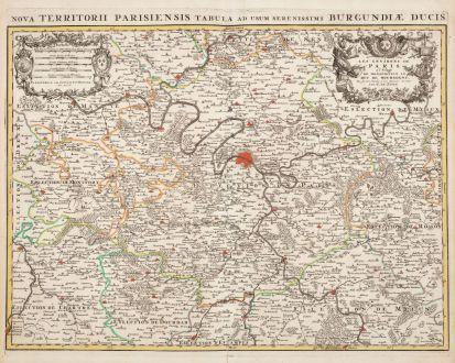 Antike Landkarten, de l Isle, Frankreich, Ile-de-France, Paris, 1720: Les Environs de Paris / Nova Territorii Parisiensis
