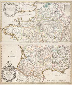 Antike Landkarten, de l Isle, Frankreich, Postroutenkarte von Frankreich, 1720: Carte Particuliere des Postes de France
