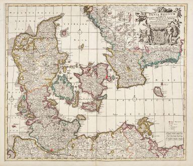 Antique Maps, de Wit, Denmark, 1680: Dania Regnum In quo sunt Ducatus Holastia et Slesvicum Insulae Danicae.