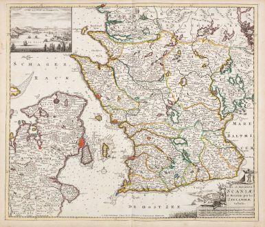 Antike Landkarten, de Wit, Dänemark, 1720: Nova et Accurata Scaniae et Maximae Partis Zeelandiae Tabula