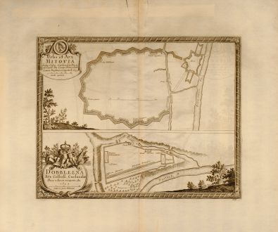 Antique Maps, Pufendorf, Poland, Mitovia, Dobbleena, 1697: Urbs et Arx Mitovia Sedes Celsis: Curlandiae Ducis ab Exell: Dn. Campi Mareschallo Comite Duglasio occupata A. 1659. /...