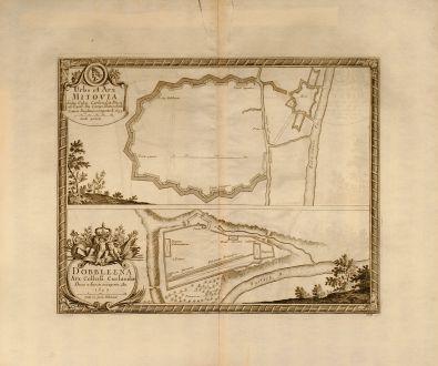 Antike Landkarten, von Pufendorf, Polen, Mitovia, Dobbleena, 1697: Urbs et Arx Mitovia Sedes Celsis: Curlandiae Ducis ab Exell: Dn. Campi Mareschallo Comite Duglasio occupata A. 1659. /...