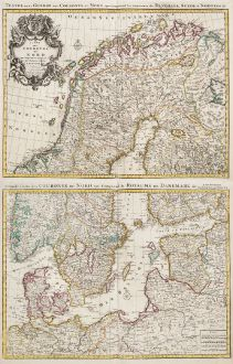Antique Maps, de l Isle, Scandinavia, 1730: Carte des Courones du Nord / Teatre de la Guerre des Courones du Nord...