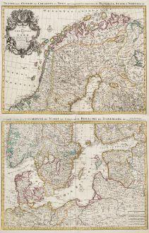 Antike Landkarten, de l Isle, Skandinavien, 1730: Carte des Courones du Nord / Teatre de la Guerre des Courones du Nord...