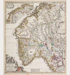 Regni Norvegia Nova Tabula in Quinque Praefecturas Generalis