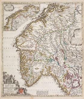 Antique Maps, de Wit, Norway, 1720: Regni Norvegia Nova Tabula in Quinque Praefecturas Generalis