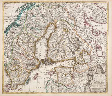 Antique Maps, de Wit, Sweden, 1720: Regni Sueciae Tabula Generalis