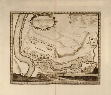 Antike Landkarten, von Pufendorf, Polen, Weichsel, Wisla, Nowy Dwor, 1697: Delineatio Regionis Vbi Wistula, et Bugus confluunt , vt et Castrorum Suedicorum ...