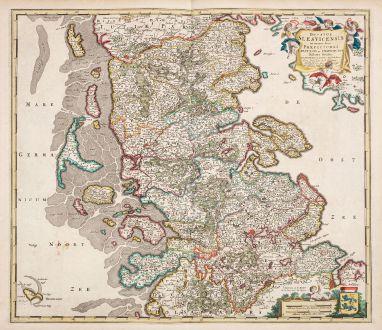 Antike Landkarten, de Wit, Schleswig-Holstein, Herzogtum Schleswig, 1680: Ducatus Slesvicensis in omnes suas Praefecturas Circulos et Provincias Distinte Divisus