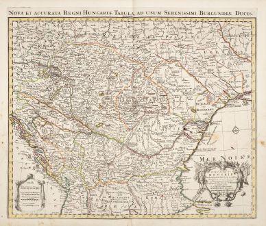 Antique Maps, de l Isle, Austria - Hungary, 1730: Le Royaume de Hongrie et des Pays qui en Dependoient Autrefois / Nova et Accurata Regni Hungariae Tabula