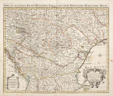 Antike Landkarten, de l Isle, Österreich - Ungarn, 1730: Le Royaume de Hongrie et des Pays qui en Dependoient Autrefois / Nova et Accurata Regni Hungariae Tabula
