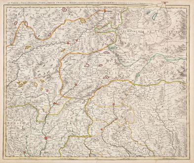 Antike Landkarten, Covens and Mortier, Österreich - Ungarn, 1730: Le Comte de Tirol, l'Evesche et Comte de Trente .. Brixen .. Salzburg ..