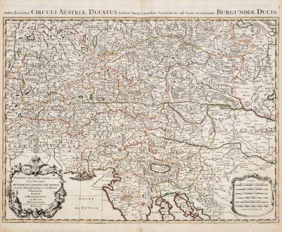 Antike Landkarten, Jaillot, Österreich - Ungarn, 1690: Partie du Cercle d'Austriche, ou sont les Duches de Stirie, de Carinthie, de Carniole / Pars Altera Circuli Austriae...