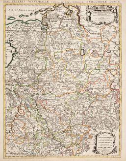 Antike Landkarten, Jaillot, Deutschland, Nordrhein-Westfalen, 1730: Le Cercle de Westphalie divise en tous ses Estats / Nova Circuli Westphaliae...