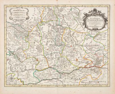Antike Landkarten, Sanson, Deutschland, Nordrhein-Westfalen, 1690: Haute Partie de l'Evesche de Munster ...
