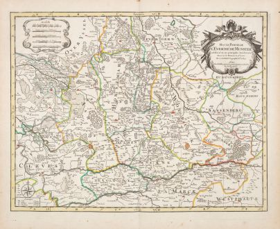 Antique Maps, Sanson, Germany, North Rhine-Westphalia, 1690: Haute Partie de l'Evesche de Munster ...