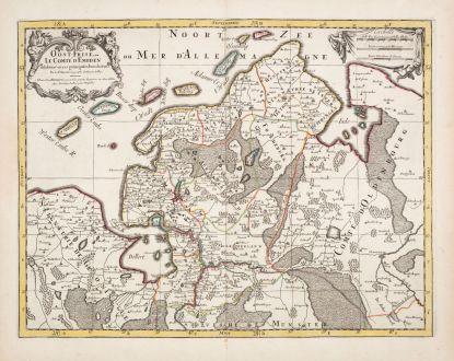 Antike Landkarten, Sanson, Niedersachsen, Ostfriesland, 1690: Oost-Frise, ou le Comte d'Embden...