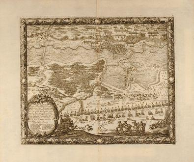 Antike Landkarten, von Pufendorf, Polen, Usch, Ujscie, 1697: Repraesentatio Difficiliarum Viarum circa Oppidum Ousztie et quomodo D. Marschallus comes Wittembergius ...