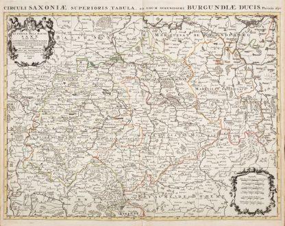 Antike Landkarten, Jaillot, Deutschland, Sachsen, 1696: Le Cercle de la Haute Saxe ou sont Compris le Duche et Electorat de Saxe...
