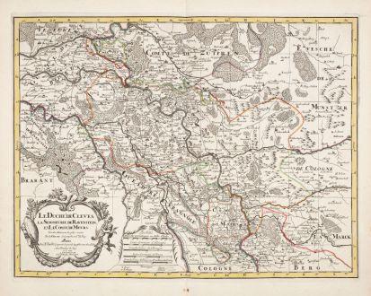 Antike Landkarten, Jaillot, Deutschland, Nordrhein-Westfalen, 1730: Le Duche de Cleves la Seigneurie de Ravenstein et le Comte de Meurs