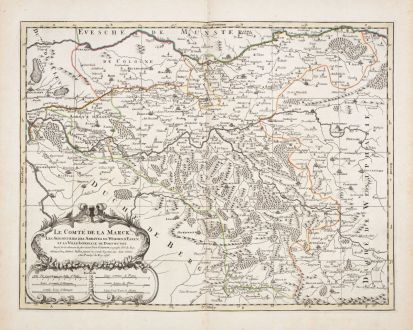 Antike Landkarten, Sanson, Deutschland, Nordrhein-Westfalen, 1696: Le Comté de la Marck, Les Seigneuries des Abbayes de Werden, d'Essen, et la Ville Imperiale de Dortmundt